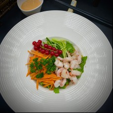 Salade au scampi avec sauce cognac